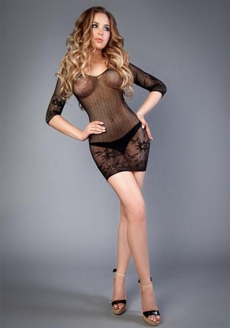 Платье черное с длинным рукавом Impulse 04513SL