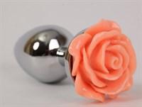 Анальная пробка металлическая с розочкой